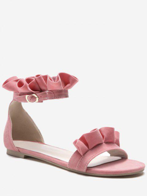 Plus Size Leisure Flat Heel Ankle Strap Ruffles Sandals - PINK 38