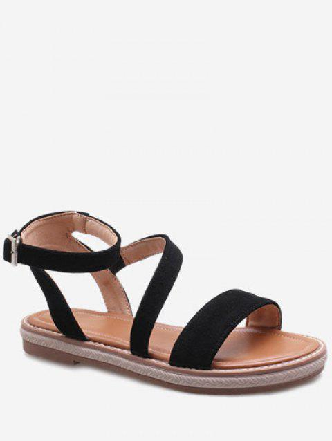 Plus Size Low Heel Outdoor Leisure Ankle Strap Sandals - BLACK 41