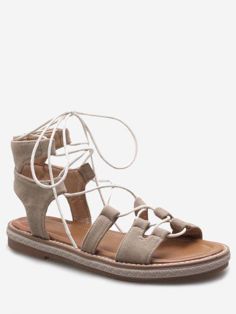 Plus Size Crisscross Casual Lace Up Sandals for Holiday - BEIGE 39