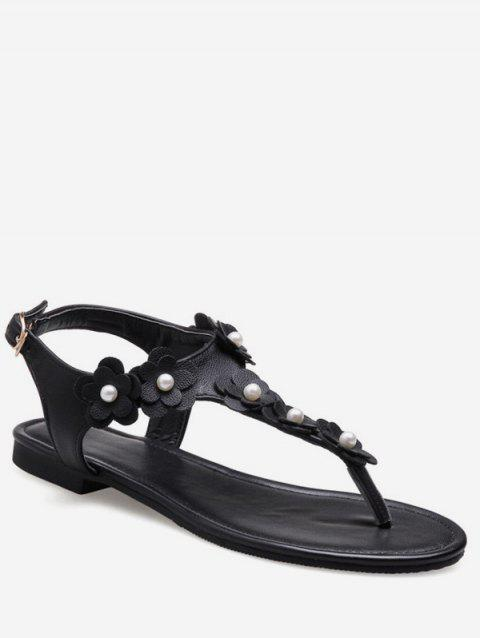 Plus Size Flat Heel Floral Embellished Thong Sandals - BLACK 39