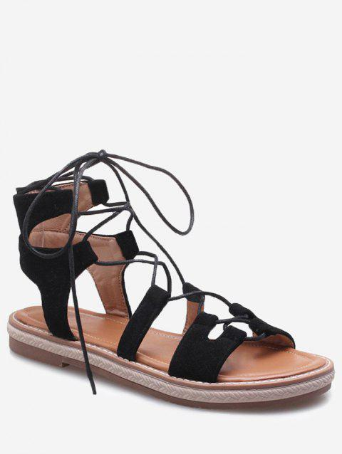 Plus Size Crisscross Casual Lace Up Sandals for Holiday - BLACK 39