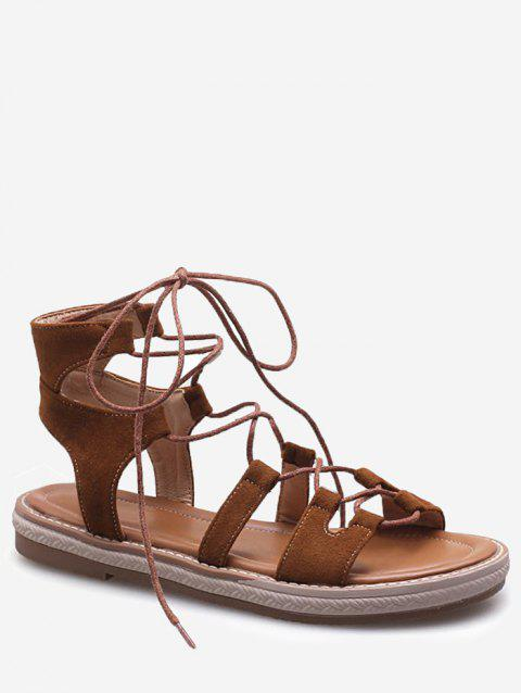 Plus Size Crisscross Casual Lace Up Sandals for Holiday - BROWN 39