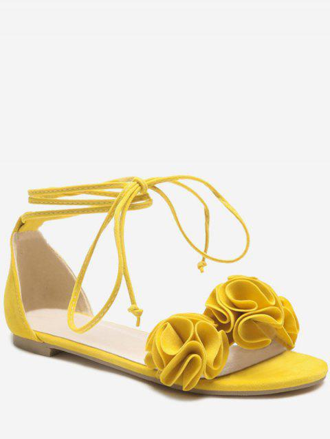 Plus Size Flat Heel Chic Floral Decorated Lace Up Sandals - YELLOW 37