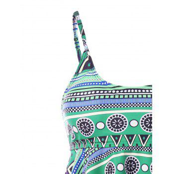 Plus Size Printed Backless Tiered Tankini - LIGHT SEA GREEN 5X