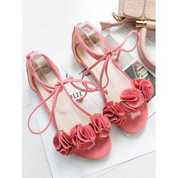 Plus Size Flat Heel Chic Floral Decorated Lace Up Sandals - PINK 41