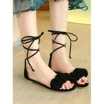 Plus Size Flat Heel Chic Floral Decorated Lace Up Sandals - BLACK 40