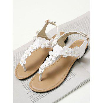 Plus Size Flat Heel Floral Embellished Thong Sandals - WHITE 43