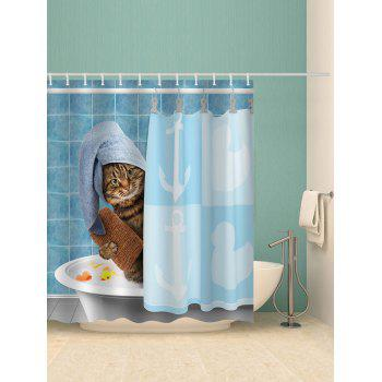 Shower Cat Printed Waterproof Bath Curtain - multicolor W65 INCH * L71 INCH