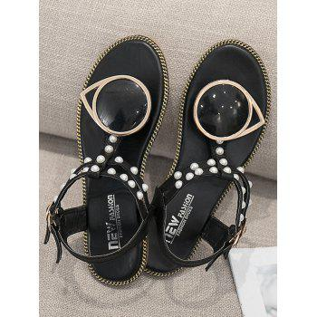 PU Leather T Strap Faux Pearl Sandals - BLACK 38