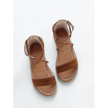 Plus Size Cross Strap Casual Dating Buckle Strap Sandals - BROWN 43