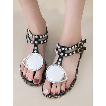 PU Leather T Strap Faux Pearl Sandals - WHITE 38