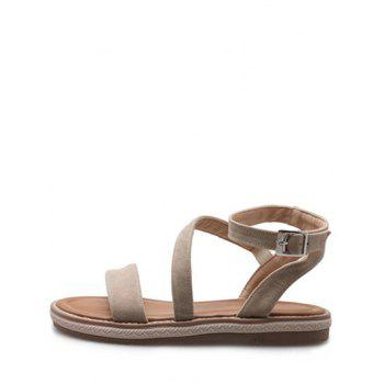 Plus Size Low Heel Outdoor Leisure Ankle Strap Sandals - BEIGE 43