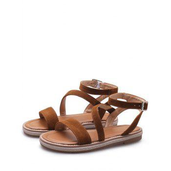 Plus Size Low Heel Outdoor Leisure Ankle Strap Sandals - BROWN 43