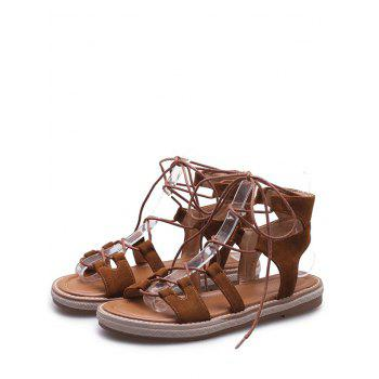 Plus Size Crisscross Casual Lace Up Sandals for Holiday - BROWN 41