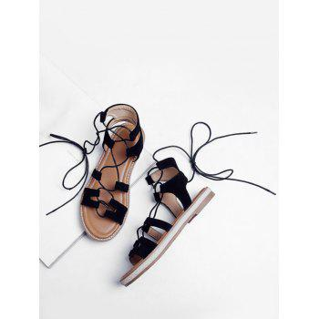 Plus Size Crisscross Casual Lace Up Sandals for Holiday - BLACK 42