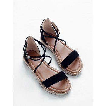 Plus Size Cross Strap Casual Dating Buckle Strap Sandals - BLACK 43
