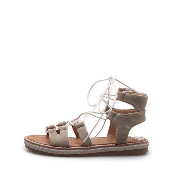 Plus Size Crisscross Casual Lace Up Sandals for Holiday - BEIGE 43