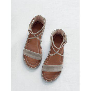 Plus Size Cross Strap Casual Dating Buckle Strap Sandals - BEIGE 39