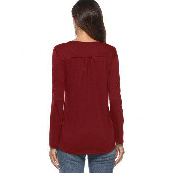 Scoop Neck Long Sleeve Top - RED WINE L