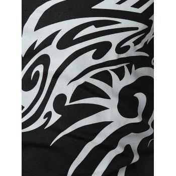 Dragon Print Button Up T-shirt - BLACK 2XL