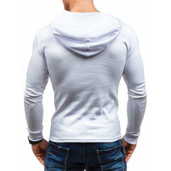 Solid Color Long Sleeve Hooded T-shirt - WHITE XL