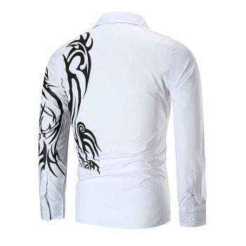 Dragon Print Button Up T-shirt - WHITE XL
