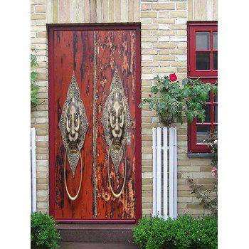 Lion Door Knocker Print Door Decals - multicolor 38.5*200CM*2PCS