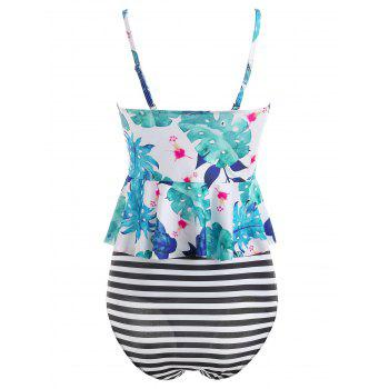 Floral Moulded Tankini Set - DEEP SKY BLUE XL
