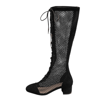 Low Heel Hollow Out Mesh Mid Calf Boots - BLACK 37
