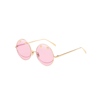 Metal Sweetheart Circle Frame Novelty Sunglasses - PIG PINK