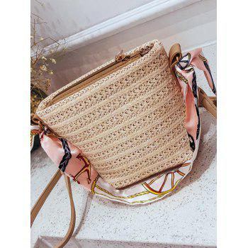 Straw Refresh Scarf Handle Crossbody Bag - BEIGE