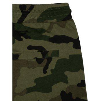 Camo Panel Zip Pockets Casual Shorts - CAMOUFLAGE GREEN 4XL