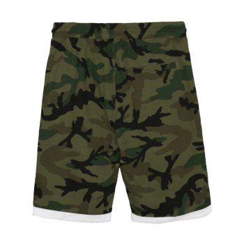 Camo Panel Zip Pockets Casual Shorts - CAMOUFLAGE GREEN 3XL