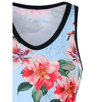 Floral Racerback Tank Top - LIGHT BLUE M