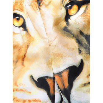 3D Lion Printed Drawstring Swim Board - HARVEST YELLOW XL