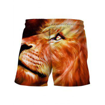 3D Lion Printed Side Pocket Summer Board - DARK ORANGE M