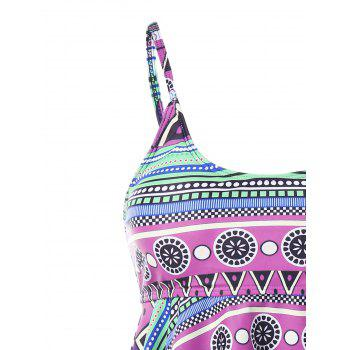 Plus Size Printed Backless Tiered Tankini - HELIOTROPE PURPLE 5X