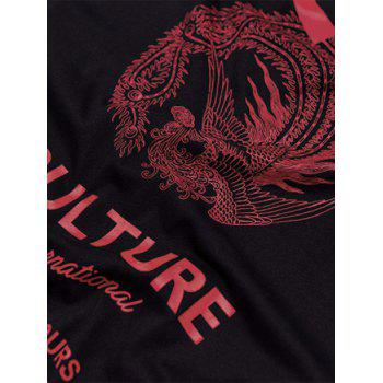 Chinese Character Culture Print Chinese Phoenix Graphic Tee - BLACK L