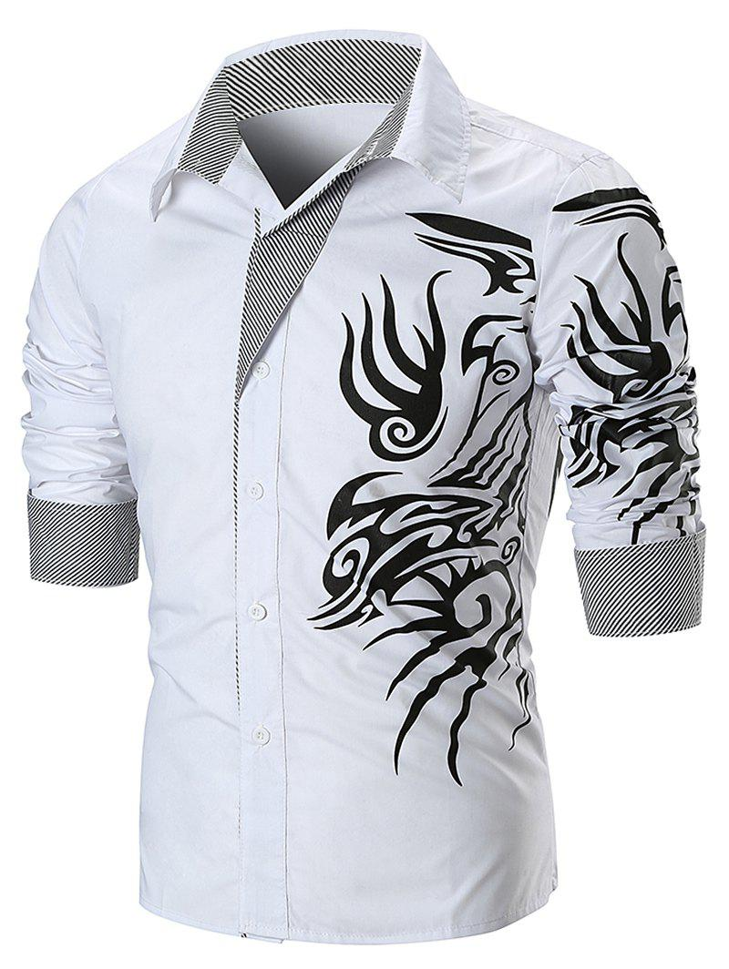 Dragon Print Button Up Shirt - WHITE L
