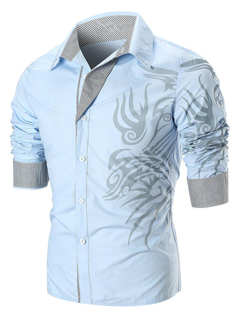 Dragon Print Button Up T-shirt - SKY BLUE M