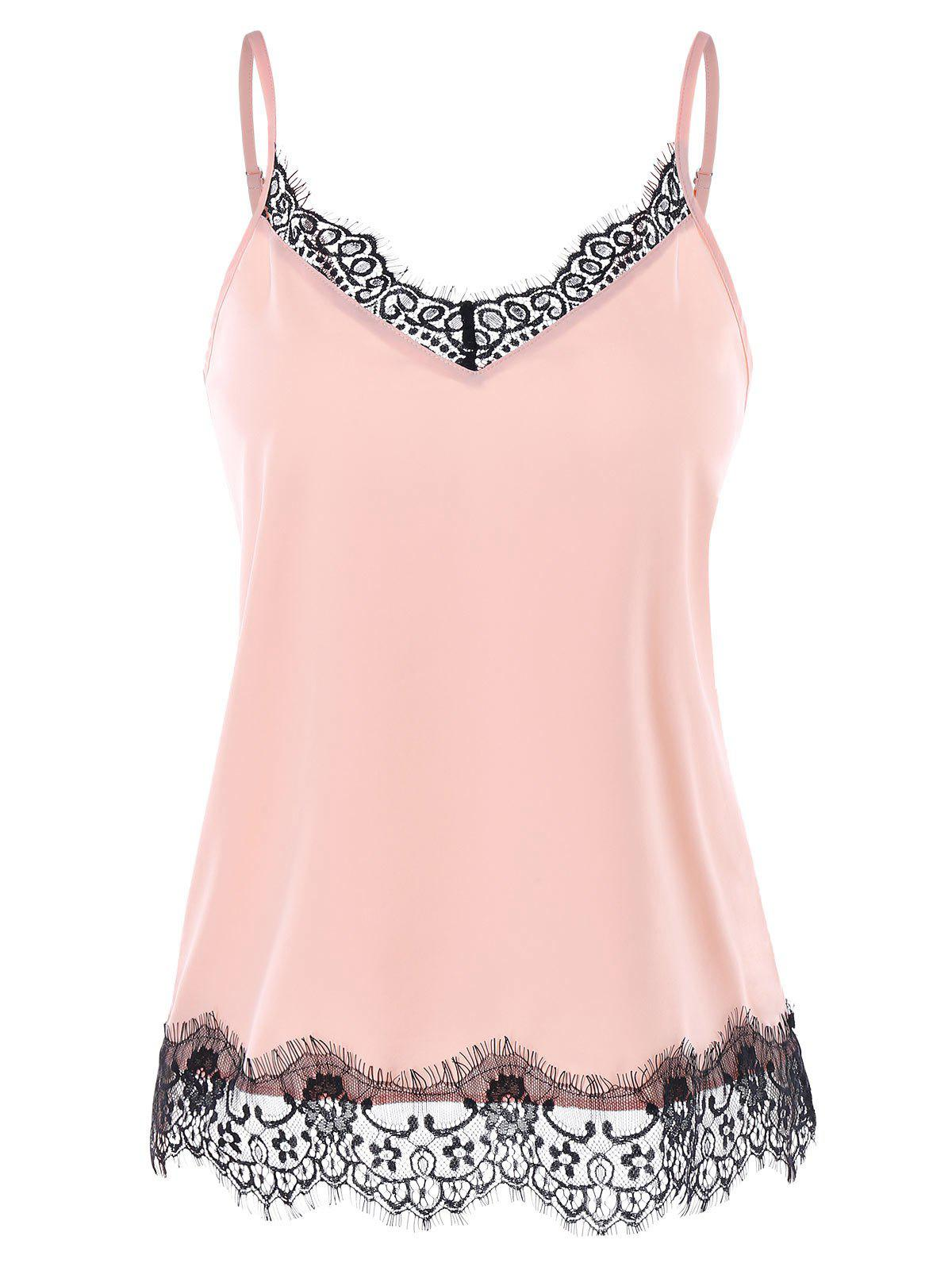 Lace Panel Cami Strap Top - LIGHT PINK XL