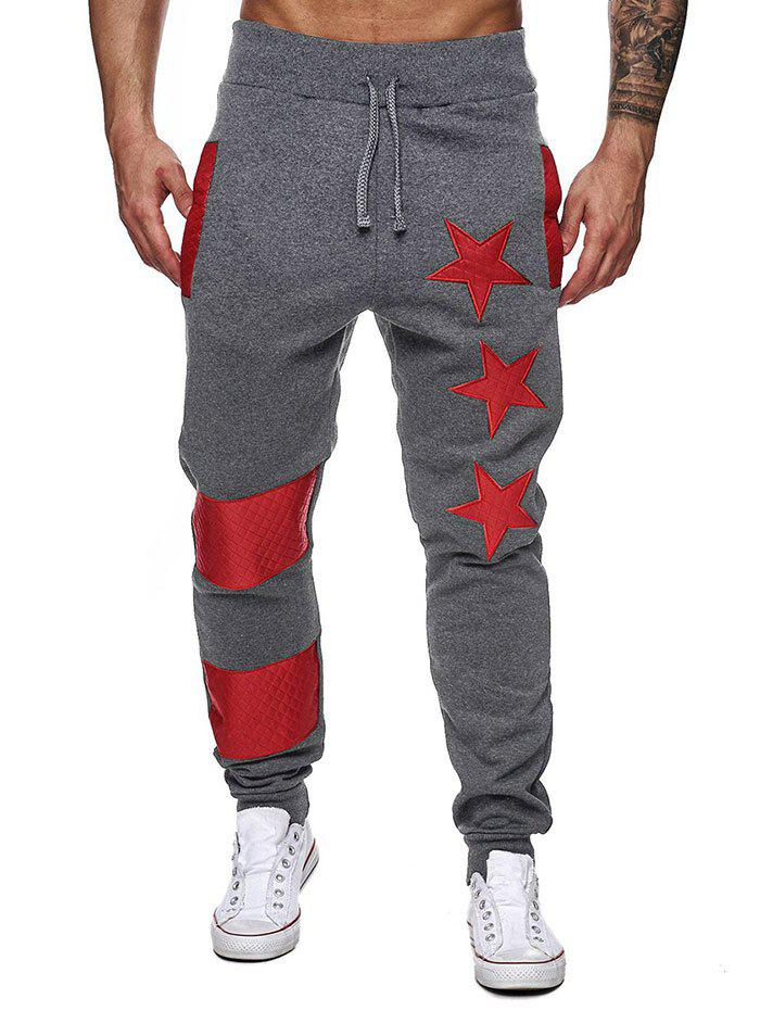 Star Contrast Color Narrow Feet Jogger Pants - DARK GRAY L