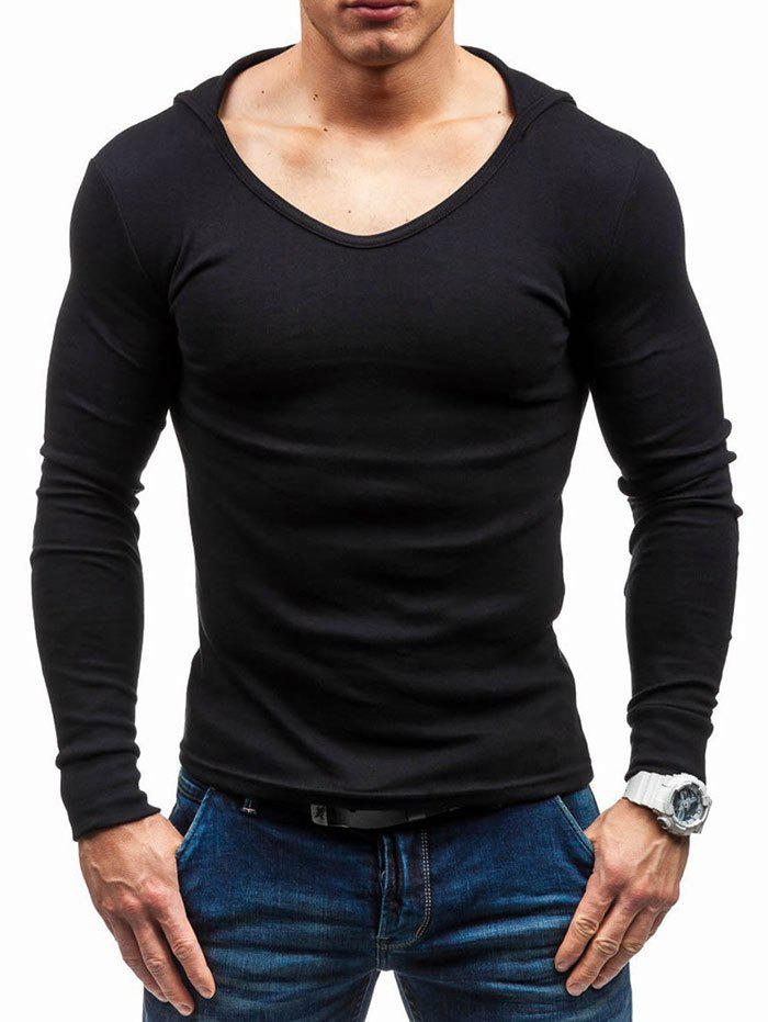 Solid Color Long Sleeve Hooded T-shirt - BLACK 2XL