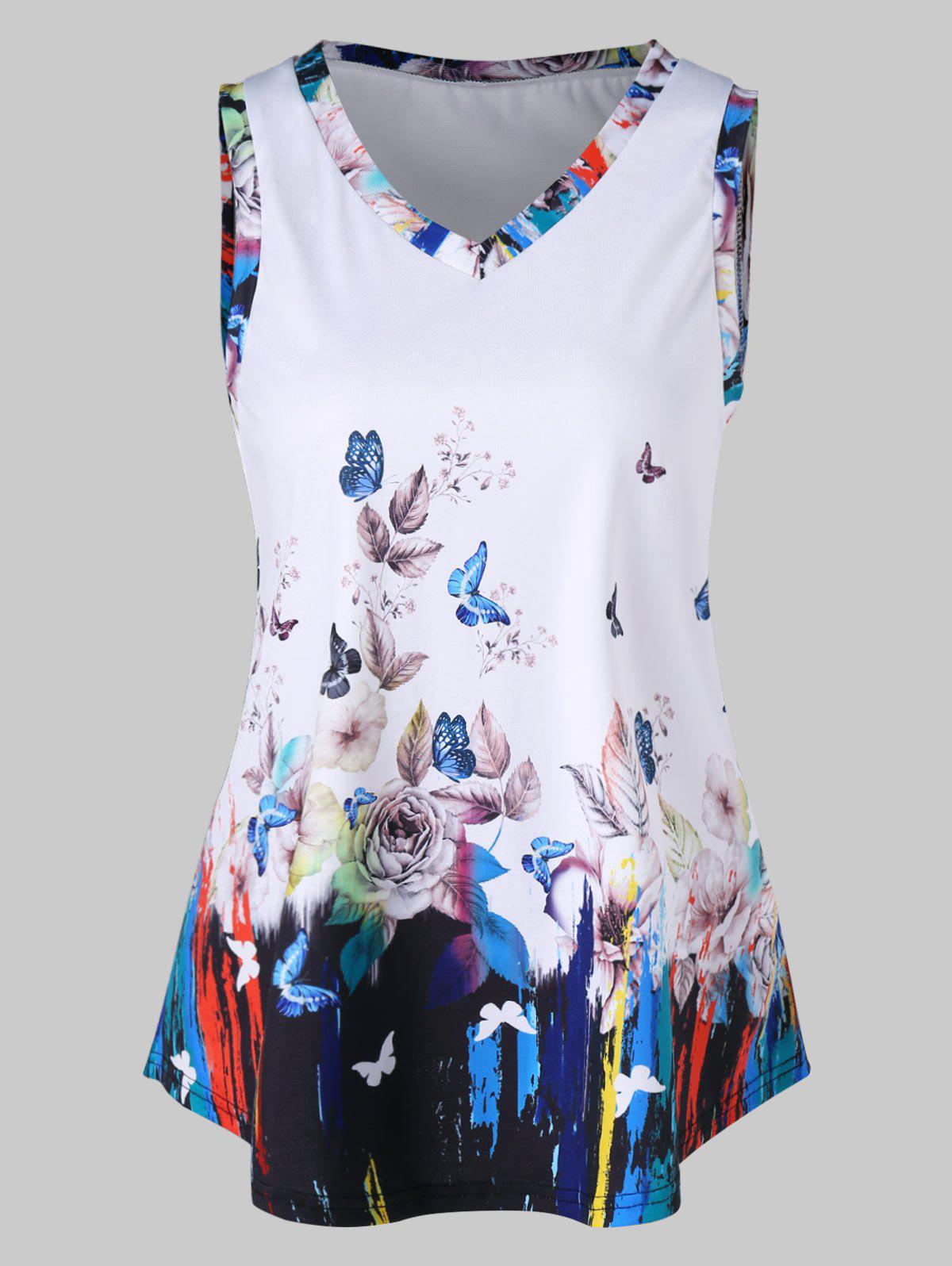 Floral Butterfly Print Tank Top - WHITE M