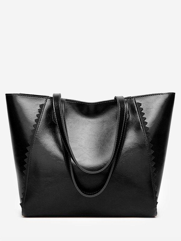 Faux Leather Scallop Casual Outdoor Shoulder Bag - BLACK HORIZONTAL