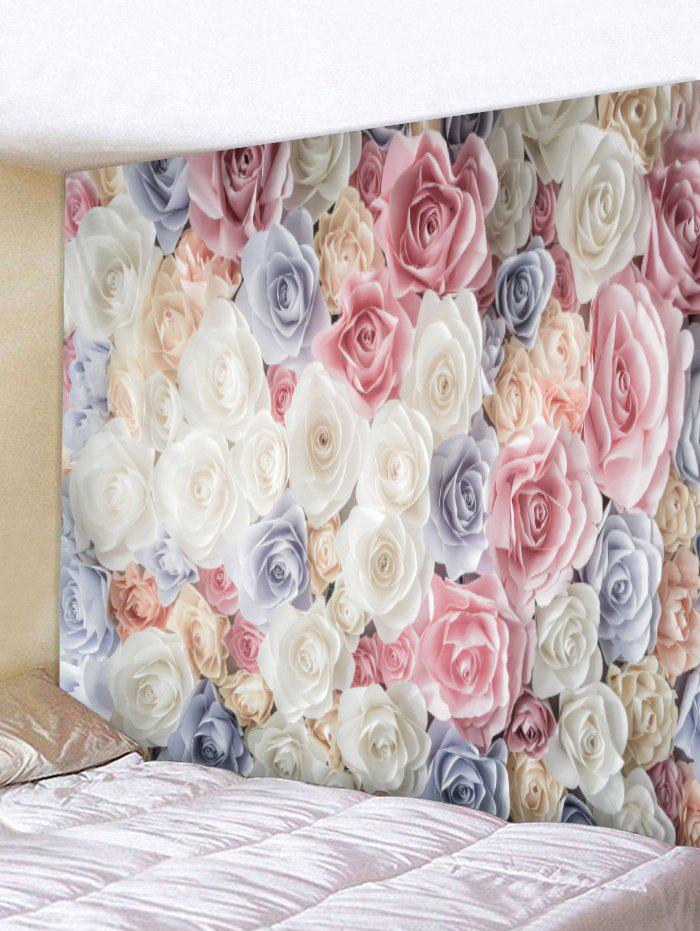 3D Rose Flower Print Tapestry Wall Decoration - multicolor W91 INCH * L71 INCH