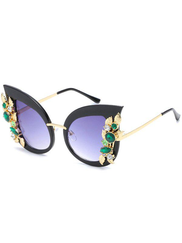 Anti UV Colored Rhinestone Inlaid Butterfly Sunglasses - BLACK