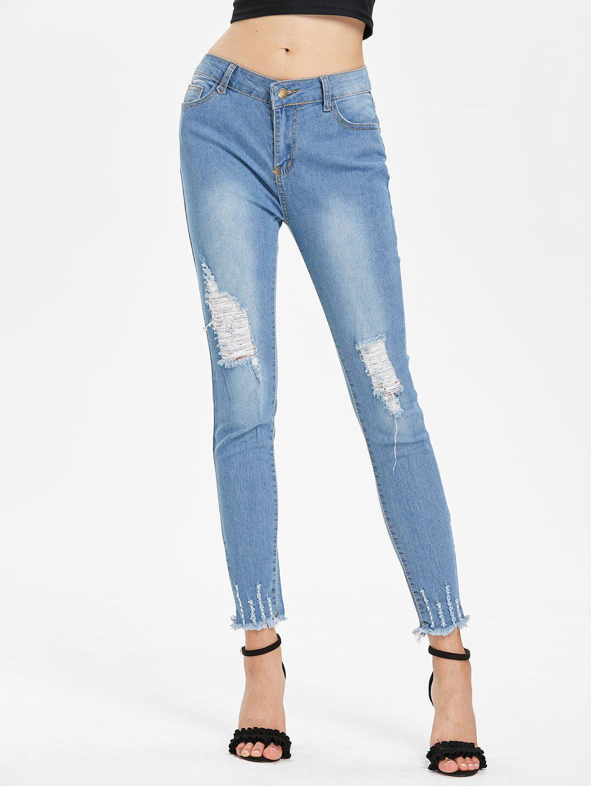 High Waisted Ripped Jeans - DENIM BLUE L