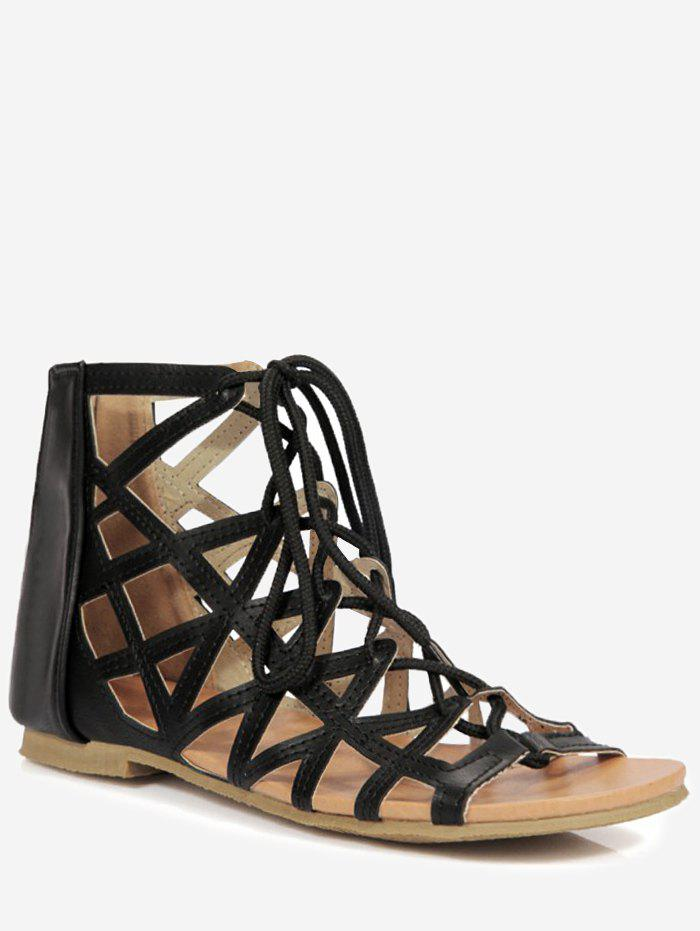 Plus Size Cut Out Crisscross Tie Up Sandals - BLACK 42