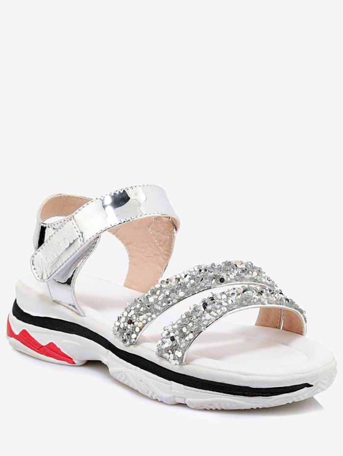 Plus Size Chic Rhinestone Decorated Platform Sandals - SILVER 40